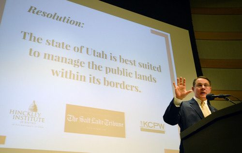 Steve Griffin  |  The Salt Lake Tribune   West Jordan Republican Rep. Ken Ivory talks to the audience during town hall meeting about who should control Utah's public lands at the Main Library in Salt Lake City, Wednesday, May 14, 2014.