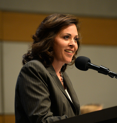 Steve Griffin  |  The Salt Lake Tribune   Utah House Speaker Rebecca Lockhart  talks to the audience during town hall meeting about who should control Utah's public lands at the Main Library in Salt Lake City, Wednesday, May 14, 2014.