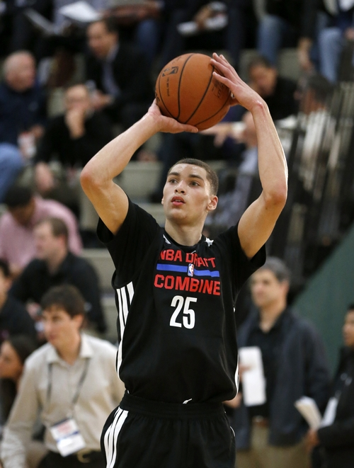 Zach LaVine from UCLA participates in the 2014 NBA basketball Draft Combine Thursday, May 15, 2014, in Chicago. (AP Photo/Charles Rex Arbogast)
