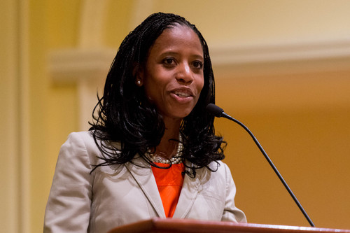 Trent Nelson  |  The Salt Lake Tribune Utah 4th Congressional District Candidate Mia Love speaks during her debate with opponent Doug Owens at the annual Utah Taxes Now Conference at the Grand America Hotel in Salt Lake City Tuesday May 20, 2014.