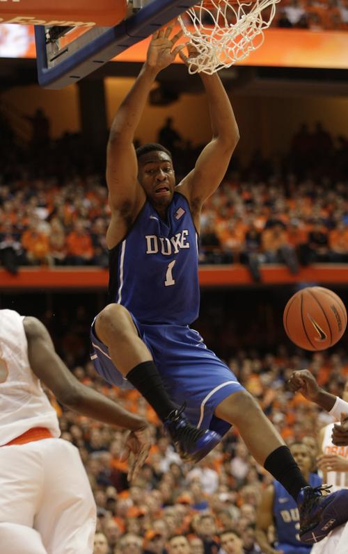 Duke's Jabari Parker jams in the second half of an NCAA college basketball game against Syracuse in Syracuse, N.Y., Saturday, Feb. 1, 2014. Syracuse won 91-89. (AP Photo/Nick Lisi)