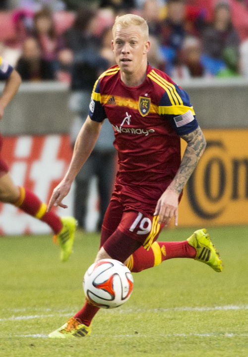 Rick Egan  |  The Salt Lake Tribune   Real Salt Lake midfielder Luke Mulholland (19) in MSL action, Real Salt Lake vs. The Vancouver Whitecaps, Wednesday, April 23, 2014