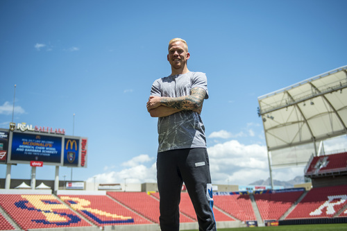 Chris Detrick  |  The Salt Lake Tribune Real midfielder Luke Mulholland poses for a portrait at Rio Tinto Stadium Tuesday May 20, 2014.