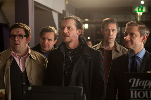 """FILE - This film publicity image released by Focus Features shows, from left, Nick Frost as Andy, Eddie Marsan as Peter, Simon Pegg as Gary, Paddy Considine as Steven, and Martin Freeman as Oliver in """"The World's End."""" Pegg will appear at the first FantasyCon, set for the Salt Palace Convention Center in Salt Lake City on the July 4 weekend. (AP Photo/Focus Features, Laurie Sparham, File)"""
