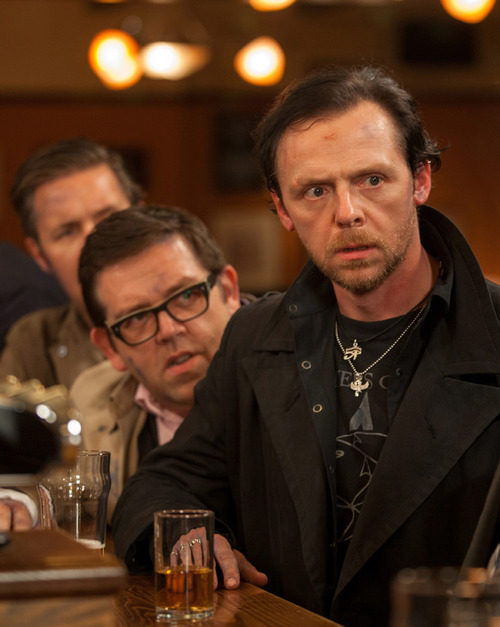 """This film publicity image released by Focus Features shows Simon Pegg, right, and Nick Frost in a scene from """"The World's End."""" (AP Photo/Focus Features, Laurie Sparham)"""