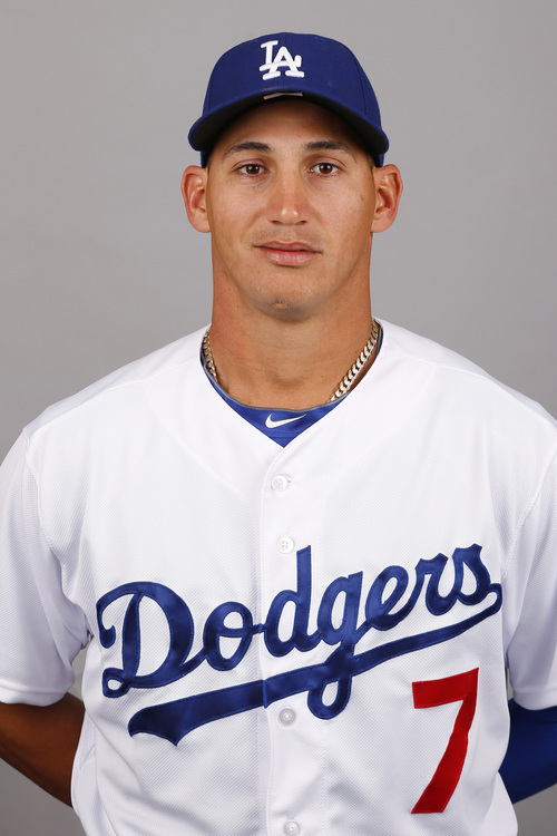 This is a 2014 photo of Alex Guerrero of the Los Angeles Dodgers baseball team. This image reflects the 2014 active roster as of Feb. 20, 2014 when this image was taken in Glendale, Ariz. (AP Photo/Paul Sancya)