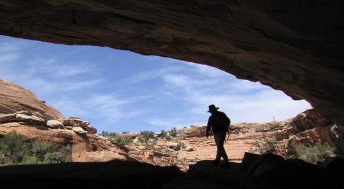Al Hartmann  |  The Salt Lake Tribune  A hiker explores an alcove in a sandstone canyon in the Cedar Mesa area in San Juan County. Utah has spent several hundred thousand dollars on an economic study of the costs and benefits of the state potentially taking control of tens of millions of federal acres, with the final product due in November.