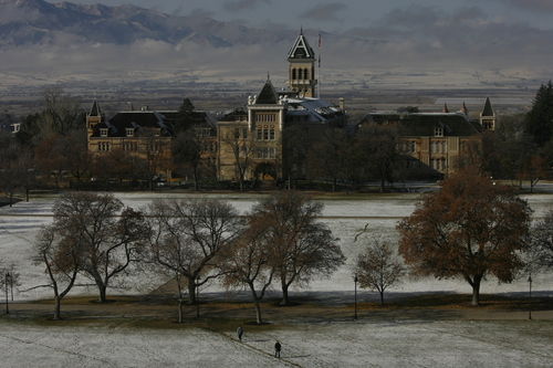 Rick Egan   |  The Salt Lake Tribune  Old main from the business building, on the Utah State University campus. Friday, November 13, 2009