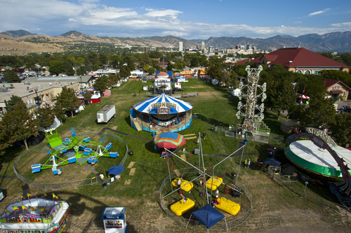 Chris Detrick  |  The Salt Lake Tribune An ariel view of the Utah State Fair as seen from the Thomas Carnival Century Wheel Thursday September 6, 2012.  Legislators are debating what to do with the financially struggling fair.