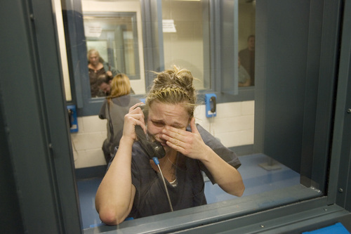 Kim Raff I The Salt Lake Tribune Angela Hill becomes emotion while giving an interview during visiting hours at the Elko County Jail in Elko, Nevada on January 8, 2012.