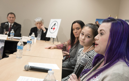 Keith Johnson   The Salt Lake Tribune (right to left) Stacy Davis-Stanford, Avery Pizzuto (14), Rachel Santizo and Pamela Evans (not pictured), share their stories with Utah Gov. Gary Herbert, left, and Pamela Atkinson during a panel discussion March 6, 2014, at the Fourth Street Clinic in Salt Lake City. Herbert met with patients and families who will benefit most from his proposed alternative to Medicaid expansion.