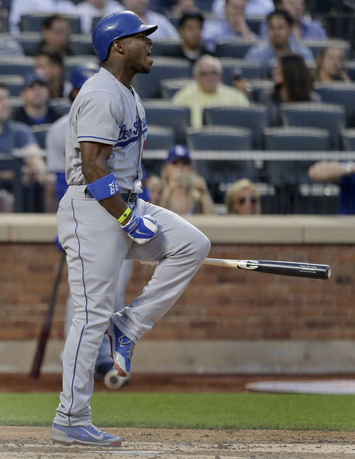 Los Angeles Dodgers' Yasiel Puig  reacts after striking out with the bases loaded to end the second inning against the New York Mets during a baseball game, Tuesday, May 20, 2014, in New York. (AP Photo/Julie Jacobson)
