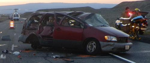 Courtesy | Utah Highway Patrol The van that rolled on Interstate 70 in Grand County. Four people were killed and four others were injured.