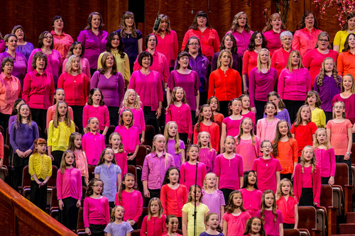 Trent Nelson  |  The Salt Lake Tribune A choir performs at the LDS General Women's Meeting at the Conference Center in Salt Lake City in March. For the first time ever for Young Women and Relief Society and Primary will meet altogether, with every LDS female 8 and up invited.