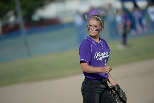 Francisco Kjolseth  |  The Salt Lake Tribune Lehi's Sydney White decides on her next pitch as she battles Taylorsville for the 5A softball championship at the Valley Softball Complex in Taylorsville on Thursday, May 22, 2014.