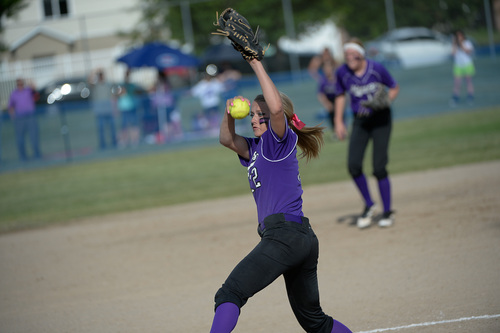Francisco Kjolseth  |  The Salt Lake Tribune Lehi's Sydney White lets the ball fly as she battles Taylorsville for the 5A softball championship at the Valley Softball Complex in Taylorsville on Thursday, May 22, 2014.
