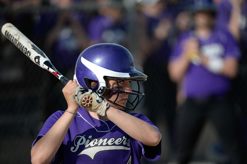 Francisco Kjolseth  |  The Salt Lake Tribune Lehi's Taylor Tahbo readies herself for her turn at bat against Taylorsville for the 5A softball championship at the Valley Softball Complex in Taylorsville on Thursday, May 22, 2014.