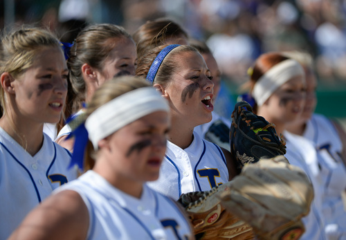 Francisco Kjolseth  |  The Salt Lake Tribune Taylorsville gets psyched up before their battle with Lehi  for the 5A softball championship at the Valley Softball Complex in Taylorsville on Thursday, May 22, 2014.
