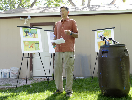 Al Hartmann  |  The Salt Lake Tribune Jim French, rooftop solar panel owner in Salt Lake City speaks out at meeting of solar advocates at his home Thursday May 22.  The group is protesting Rocky Mountain Power proposing a $4.25 monthly fee on net-metered customers, the people who generate power from photovoltaic arrays on their roofs and sell what they don't need into the grid.