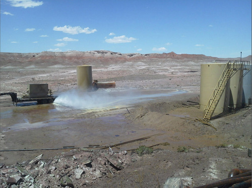 (Courtesy Bureau of Land Management)  A 45-year-old well on federal land near Salt Wash in Grand County released hundred of barrels of contaminated groundwater after a valve failed Wednesday.