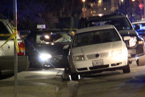 """In this image provided by KEYT-TV, a car window is shot out after a mass shooting near the campus of the University of Santa Barbara in Isla Vista, Calif., Friday, May 23, 2014.  A drive-by shooter went on a """"mass murder"""" rampage near the Santa Barbara university campus that left seven people dead, including the attacker, and seven others wounded, authorities said Saturday. (AP Photo/KEYT, John Palminteri)"""