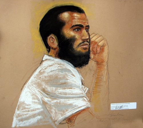 FILE - In an April 28, 2010, file artists rendering, Canadian defendant Omar Khadr attends his hearing in the courthouse for the U.S. military war crimes commission at the Camp Justice compound on Guantanamo Bay U.S. Naval Base in Cuba. An American soldier blinded in Afghanistan and the widow of another soldier killed there have filed a $44.7 million wrongful death and injury lawsuit against a Canadian man who was held at Guantanamo Bay and pleaded guilty to committing war crimes when he was 15. Layne Morris of Utah and Tabitha Speer of North Carolina filed their lawsuit Friday, May 23, 2014, in federal court in Utah against Omar Khadr, who signed a plea deal in 2010 that he committed five war crimes, including the killing of U.S. soldier Christopher Speer, in 2002. As part of the deal, Khadr admitted to throwing the grenade that killed Speer and injured other soldiers, including Morris, who lost sight in one eye from the shrapnel, the lawsuit states. The Toronto-born Khadr is serving the remainder of his eight-year sentence in Canada. (AP Photo/The Canadian Press, Janet Hamlin, Pool, File)
