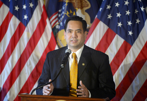 Keith Johnson |  Tribune file photo  Sean Reyes addresses the media, December 23, 2013 after Utah Governor Gary Herbert announced Reyes will be Utah's new Attorney General. Reyes takes office after former Attorney General John Swallow resigned amid allegations of impropriety.