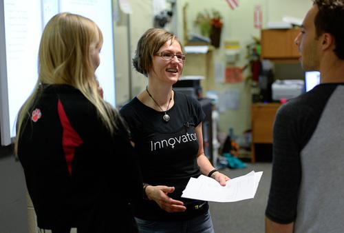 Franciso Kjolseth  |  The Salt Lake Tribune Nicole Reitz-Larsen, a winner of an innovative teacher award from The Salt Lake Tribune and KUED, teaches computer science at West High recently. Reitz-Larsen has explored racial and gender disparities in computer science education.