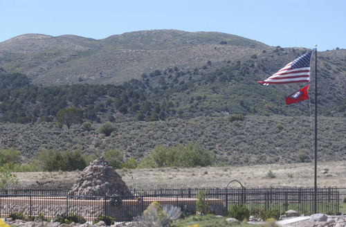 Mountain Meadows Monument at the siege site where Fancher-Baker wagon train party was pinned down before being led north to where most the 120 victims were massacred. -- HAVNES PHOTO