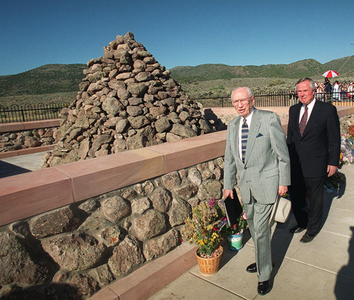 Al Hartmann  |  Tribune file photo President Gordon B. Hinckley takes a brief tour of the newly constructed Mountain Meadow Monument.