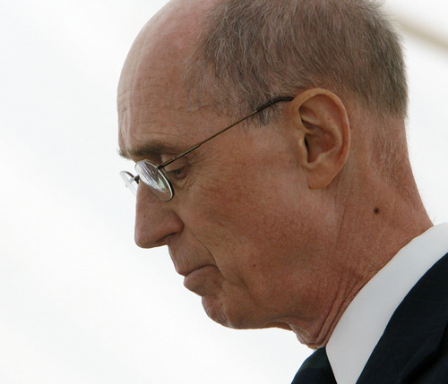 Steve Griffin  |  Tribune file photo An emotional Elder Henry B. Eyring, an apostle of The Church of Jesus Christ of Latter-day Saints, lowers his head while speaking during the Mountain Meadows Massacre Memorial near Enterprise, Utah, Sept. 11, 2007.  The the massacre happened on Sept. 11, 1857.