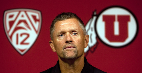 Steve Griffin | The Salt Lake Tribune  University of Utah head football coach, Kyle Whittingham, talks with the media during the team's press conference at the school's new football facility in Salt Lake City, Utah, Monday Aug. 26, 2013.