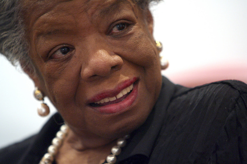 FILE - In this March 4, 2008 file photo, American poet and noevlist Maya Angelou smiles during an interview with The Associated Press in New York. Angelou has died, Wake Forest University said Wednesday, May 28, 2014.  She was 86. (AP Photo/Mary Altaffer, File)