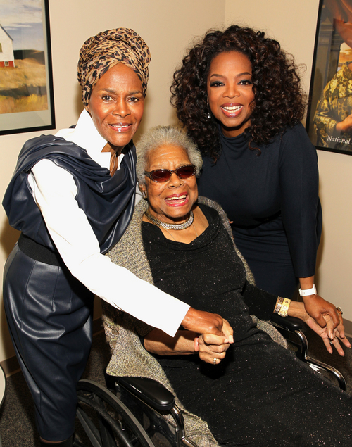 """In this April 5, 2014 photo provided by the National Portrait Gallery, Cicely Tyson, Maya Angelou and Oprah Winfrey pose for a photo backstage at Angelou's portrait unveiling at the Smithsonian's National Portrait Gallery in Washington. Angelou, a Renaissance woman and cultural pioneer, has died, Wake Forest University said in a statement Wednesday, May 28, 2014. She was 86.  Maya Angelou walked into a meeting of civil rights leaders discussing affirmative action, looked around, and put them all in their place with a single observation. """"She came into the room,"""" recalled Al Sharpton, """"and she said, 'The first problem is you don't have women in here of equal status. We need to correct you before you can correct the country.'"""" Angelou, who died Wednesday at age 86, will be forever known for her soaring poetry and her searing memoirs. But her impact transcended her written words. She was the nation's wise woman, a poet to presidents, an unapologetic conscience for the civil rights movement. Never hesitant to speak her mind, Angelou passionately defended women, and literature, and the right of younger generations to be heard. """"I've seen many things, I've learned many things,"""" she told The Associated Press in 2013. """"I've certainly been exposed to many things and I've learned something: I owe it to you to tell you."""" (Paul Morigi/AP Images for National Portrait Gallery)"""
