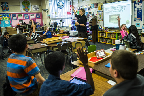Chris Detrick  |  The Salt Lake Tribune Fifth-grade teacher Amber Palmer teaches during class at Bennion Elementary School Tuesday May 6, 2014.