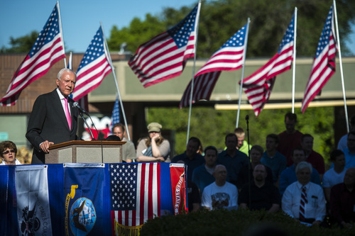 Chris Detrick  |  The Salt Lake Tribune Utah Sen. Orrin Hatch speaks during a Memorial Day celebration at Hogan Park in Woods Cross on Monday May 26, 2014.