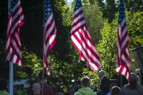 Chris Detrick  |  The Salt Lake Tribune Utah Sen. Orrin Hatch speaks during a Memorial Day celebration at Hogan Park in Woods Cross on Monday, May 26, 2014.