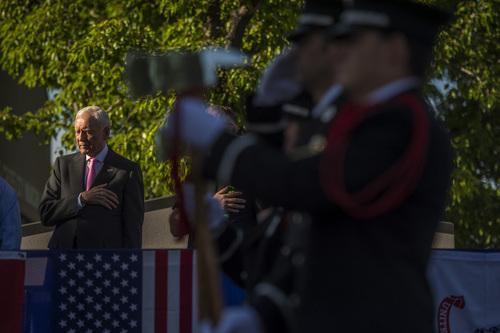 Chris Detrick  |  The Salt Lake Tribune Utah Sen. Orrin Hatch participates in a Memorial Day celebration at Hogan Park in Woods Cross on Monday, May 26, 2014.