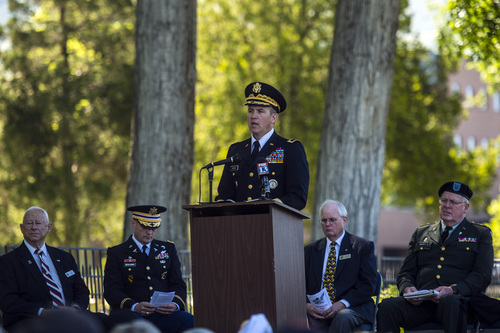 Chris Detrick  |  The Salt Lake Tribune Brig. Gen. Dallen Atack, assistant adjutant general, Utah, speaks during a Memorial Day service at Fort Douglas Cemetery on Monday, May 26, 2014.