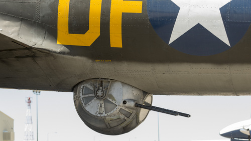 "Rick Egan  |  The Salt Lake Tribune  The lower ball turret of The ""Memphis  Belle"", a restored WWII B-17 ""flying fortress"" bomber as it appeared on May 26, 2014. The B-17, restored by the Liberty Foundation, will be available for public flights from May 31 to June 1."
