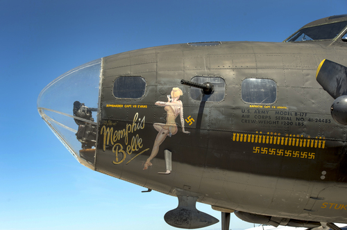 "Rick Egan  |  The Salt Lake Tribune   The ""Memphis Belle,"" a restored WWII B-17 ""flying fortress"" bomber, on display at the South Valley Regional Airport on May 26, 2014. The B-17, restored by the Liberty Foundation, will be available for public flights from May 31 to June 1."