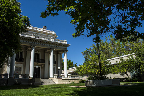 Chris Detrick  |  The Salt Lake Tribune The historic Wall Mansion on 411 E. South Temple Tuesday May 27, 2014. The University of Utah is planning a $7 million restoration of South Temple's historic Wall Mansion to house a new public policy research institute and event venue.