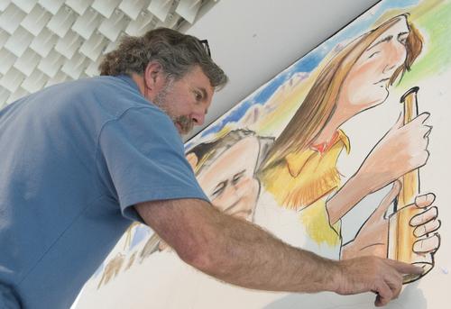 Rick Egan     The Salt Lake Tribune  Salt Lake Tribune editorial cartoonist, Pat works on a mural at the Leonardo,  Wednesday, May 28, 2014. Bagley is the artist in resident at The Leonardo.