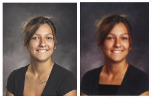| Courtesy Photos  Shelby Baum's photo before and after Wasatch High edited it for the yearbook.