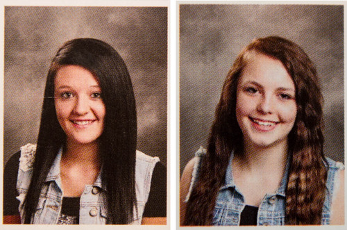 Trent Nelson  |  The Salt Lake Tribune The yearbook photos of several girls at Wasatch High School were digitally altered to cover up skin. In these photos, girls wearing almost identical vests were treated differently. The one on the left had a tee-shirt added to her outfit, while the photo of the girl on the right was left untouched. In Heber City, Thursday May 29, 2014.