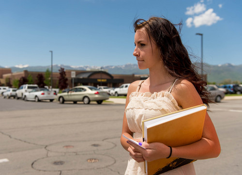 Trent Nelson  |  The Salt Lake Tribune Wasatch High School sophomores Kimberly Montoya talks about finding her yearbook photos had been digitally altered, in Heber City, Thursday May 29, 2014. The yearbook photos of several girls at Wasatch High School were digitally altered to cover up skin, with sleeves and higher necklines drawn onto their images.