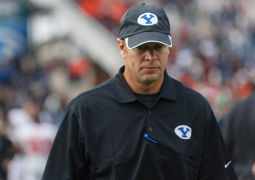 Trent Nelson     The Salt Lake Tribune BYU coach Bronco Mendenhall walks off the field after the loss as BYU hosts Oregon State college football Saturday October 13, 2012 in Provo, Utah.