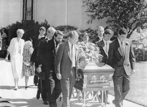 Tribune File Photo Karen and Sherwin Watkins, with their 10-year-old daughter, Emily, follow the casket of their son, Brian, who was stabbed to death in a New York City subway station when he tried to protect his mother. Sept. 8, 1990.