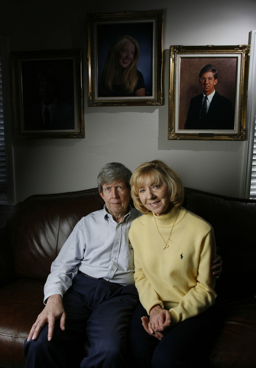 Sherm and Karen Watkins(cq) of Provo who lost their son Brian, pictured above, when he was murdered in a NYC subway 15 years ago, sparked a major crackdown on crime in the Big Apple.    Photo by Francisco Kjolseth/ The Salt Lake Tribune 12/23/2005