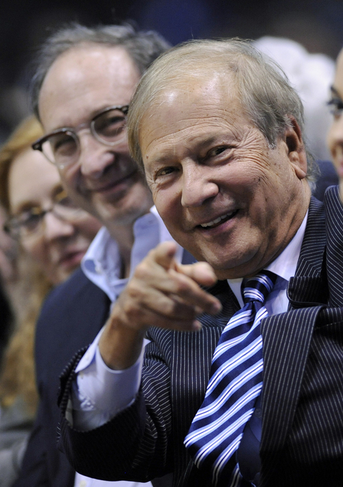 In this April 12, 2010 photo, New Jersey Nets owners Lewis Katz, right, and Bruce Ratner sit courtside at an NBA basketball game against the Charlotte Bobcats  in East Rutherford, N.J.   The editor of The Philadelphia Inquirer says co-owner Lewis Katz is among the seven people killed in a plane crash in Massachusetts.  Bill Marimow confirmed Katz's death to Philly.com on Sunday, June 1, 2014 saying he learned the news from close associates.  The plane crashed and caught fire as it was leaving Hanscom Field while on its way to Atlantic City International Airport. Massachusetts Port Authority spokesman Matthew Brelis says there were no survivors in the crash.  (AP Photo/Bill Kostroun)